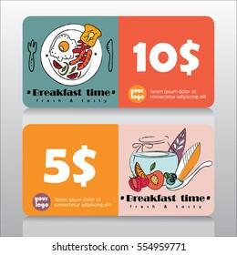 Voucher or coupon for breakfast deal in restaurant. Vector illustration