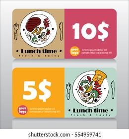 Voucher or coupon for lunch deal in restaurant. Vector illustration