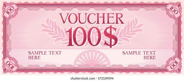 voucher design - hundred dollars (template)