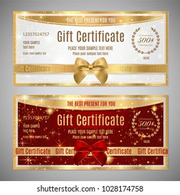 Voucher, Gift certificate, Coupon, Holiday reward card template. White and red background design with red bow (ribbon)  for ticket, money design, check (cheque)