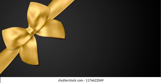 Voucher, Gift certificate, Coupon template. Gold bow, golden ribbon on black background. Blank vector design gift card