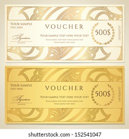 Voucher, Gift certificate, Coupon template. Floral, scroll pattern (border, frame). Background design for invitation, ticket, banknote, money design, currency, check (cheque). Vector in gold, color