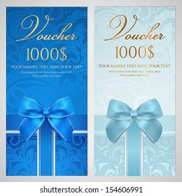 Voucher, Gift certificate, Coupon template with gift bow (ribbons, present). Holiday (celebration) background design (Christmas, Birthday) for invitation, banner, ticket. Vector in blue color