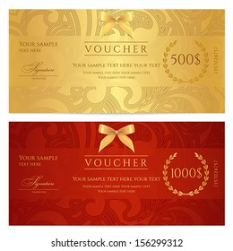 Voucher, Gift certificate, Coupon template. Floral, scroll pattern (bow, frame). Background design for invitation, ticket, banknote, money design, currency, check (cheque). Red, gold vector