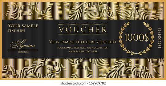 Voucher, Gift certificate, Coupon template. Floral, scroll pattern, birder ,frame. Background design for invitation, ticket, banknote, money design, currency, check. Black, gold vector