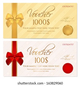 Voucher, Gift certificate, Coupon template with stripe pattern, red and gold bow. Background for invitation, money design, currency, note, check (cheque), ticket, reward. Vector