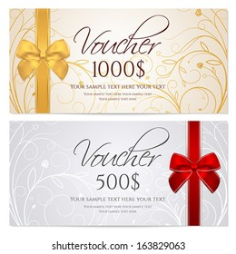 Voucher, Gift certificate, Coupon template with floral scroll pattern, red and gold bow. Background for invitation, money design, currency, note, check (cheque), ticket, reward. Vector