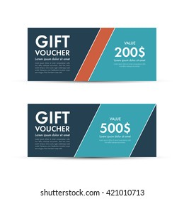 Voucher, Gift certificate, Coupon template. Vector illustration.