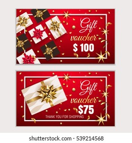 Voucher, Gift certificate, Coupon template with frame, bow, ribbons, present. Holiday celebration background design Christmas, New Year, Birthday for invitation, banner. Vector in red, gold colors