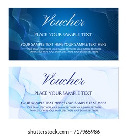 Voucher, Gift certificate, Coupon template. Guilloche pattern (watermark, blue lines). Background for banknote, money design, currency, bank note, check (cheque), ticket