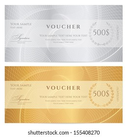 Voucher, Gift certificate, Coupon, ticket template. Guilloche pattern (watermark, spirograph). Background for banknote, money design, currency, bank note, check (cheque), ticket. Gold, silver vector