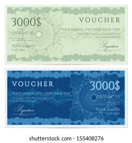 Voucher, Gift certificate, Coupon, ticket template. Guilloche pattern (watermark, spirograph). Background for banknote, money design, currency, bank note, check (cheque), ticket. Green, blue vector