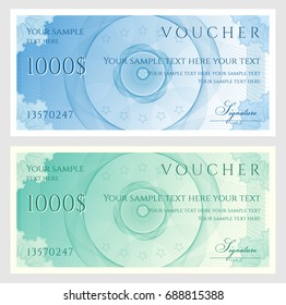 Voucher, Gift certificate, Coupon, ticket template. Guilloche pattern (watermark, spirograph). Background for banknote, money design, currency, bank note, check (cheque), ticket