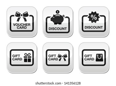 Voucher, gift, discount card vector buttons set