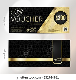Voucher, Gift luxury certificate, Coupon template. Vintage pattern. Background design for invitation, ticket, banknote, money design, currency, check (cheque). Black, gold vector