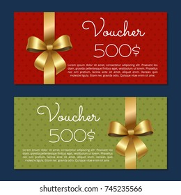 Voucher on 500$ set of posters with gold ribbons and bows on abstract color background. Gift certificates for discounts in fashionable stores vector