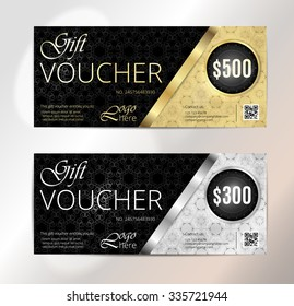 Voucher set, Gift certificate, Luxury Coupon template. Floral, scroll pattern. Background design for invitation, ticket, cheque. Black, gold, silver vector