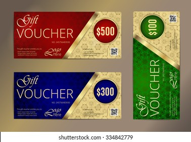 Voucher set, Luxury Gift certificate, Coupon template. Floral, scroll pattern. Background design for invitation, ticket, cheque. Red, gold, blue, green vector