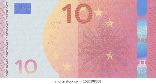 Voucher template banknote 10 with guilloche pattern watermarks and border. Yellow pink background banknote, gift voucher, coupon, money design, currency,note,check, cheque, reward, certificate design.