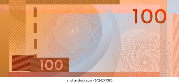 Voucher template banknote 100 with guilloche pattern watermarks and border. Green background banknote