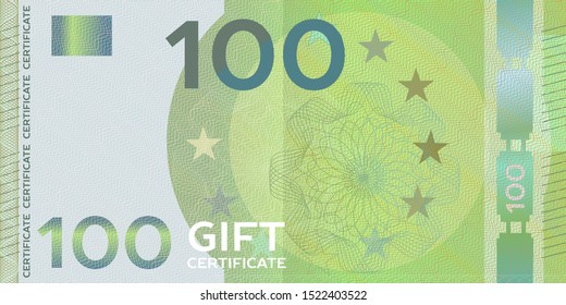 Voucher template banknote 100 with guilloche pattern watermarks and border. Yellow background for gift voucher, coupon, money design, currency,note, check, cheque, reward, certificate design.