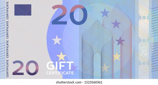 Voucher template banknote 20 with guilloche pattern watermarks and border. Yellow background for gift voucher, coupon, money design, currency,note, check, cheque, reward, certificate design.