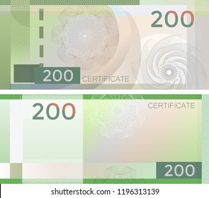 Voucher template banknote 200 with guilloche pattern watermarks and border. Green background banknote, gift voucher, coupon, diploma, money design, currency, note, check, cheque, reward. certificate