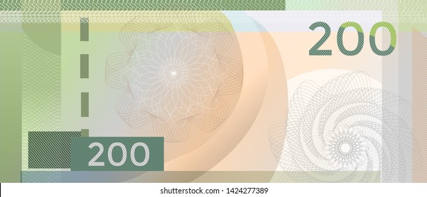 Voucher template banknote 200 with guilloche pattern watermarks and border. Green background banknote