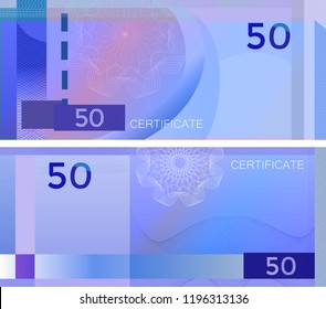 Voucher template banknote 50 with guilloche pattern watermarks and border. Blue background banknote, gift voucher, coupon, diploma, money design, currency, note, check, cheque, reward. certificate