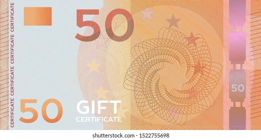 Voucher template banknote 50 with guilloche pattern watermarks and border. Yellow background for gift voucher, coupon, money design, currency,note, check, cheque, reward, certificate design.