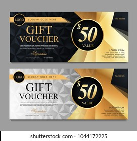 Voucher template with black and white certificate. Background design coupon, invitation, currency. Set of stylish gift voucher with golden pattern. gift card, coupon.Isolated from the background.