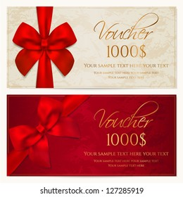 Voucher template with border and red bow (ribbons). This background design usable for gift coupon, voucher, invitation, certificate, diploma, ticket etc. Vector