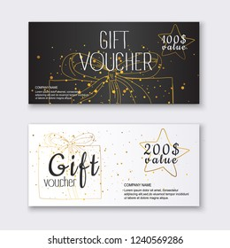 Voucher template with color gift box,certificate. Background design coupon, invitation, currency. Vector illustration.