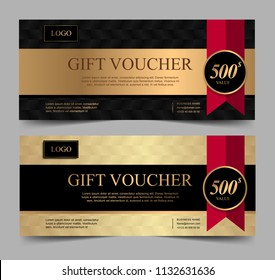 Voucher template with gold black and red ribbon. Background design coupon, invitation, currency. Set of stylish gift voucher, pattern, gift card, coupon,VIP and invite.