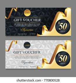 Voucher template with gold  certificate. Background design coupon, invitation, currency. Set of stylish gift voucher with golden ribbon pattern. gift card, coupon.Isolated from the background.