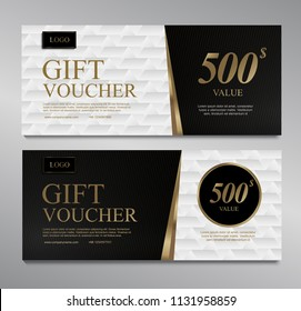 Voucher template with gold white and black certificate. Background design coupon, invitation, currency. Set of stylish gift voucher, pattern, gift card, coupon,VIP and invite.