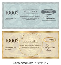 Voucher template with guilloche pattern (watermark) and border . This background design usable for voucher, coupon, gift, banknote, certificate, diploma, currency, check etc. Golden and blue vector