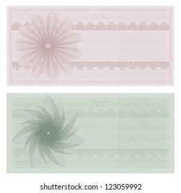 Voucher template with guilloche pattern (watermarks). This design usable for gift voucher, coupon, diploma, certificate or different awards. Vector illustration