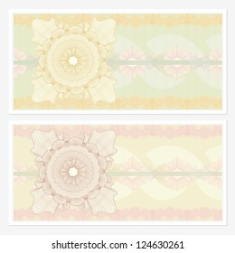 Voucher template with guilloche pattern (watermarks) and border. This design usable for gift voucher, coupon, diploma, certificate or different awards. Vector illustration