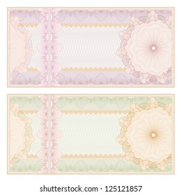 Voucher template with guilloche pattern (watermarks) and border. This background usable for banknote, gift voucher, coupon, diploma, certificate or check. Vector illustration