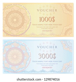 Voucher template with guilloche pattern (watermarks) and border. This background design usable for gift voucher, coupon, banknote, certificate, diploma, check, currency etc. Vector illustration