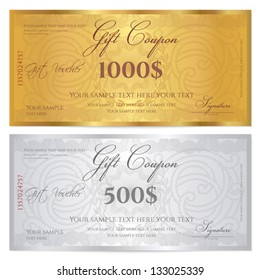Voucher template with guilloche pattern (watermarks) and border. Background design usable for gift coupon, banknote, certificate, diploma, currency, check etc. Vector in golden and silver colors