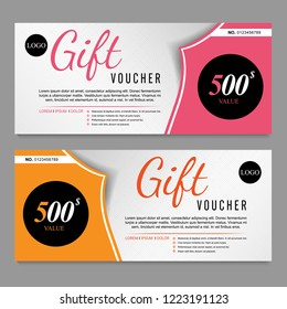 Voucher template pink and yellow certificate. Background design coupon, invitation, currency. Set of stylish gift card, coupon.