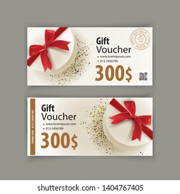 Voucher template with white gift red bow. Value 300 dollars for department stores, business.
