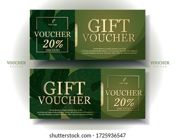 Vouchers in bright green and gold colors, luxurious, expensive, and classy. The leaf pattern on the back looks natural. promotion. illustration/Vector