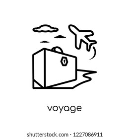 voyage icon. Trendy modern flat linear vector voyage icon on white background from thin line Architecture and Travel collection, editable outline stroke vector illustration