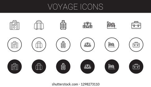 voyage icons set. Collection of voyage with luggage, suitcase, briefcase. Editable and scalable voyage icons.