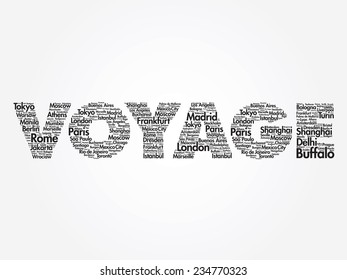 VOYAGE travel concept made with words cities names, vector collage