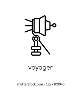 voyager icon. Trendy modern flat linear vector voyager icon on white background from thin line Astronomy collection, outline vector illustration