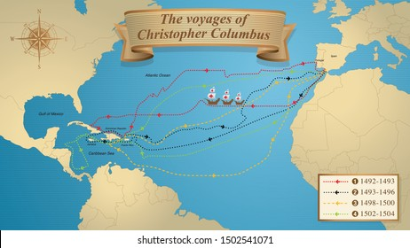 The voyages of Christopher Columbus. Map with the marked routes of the 4 trips of Columbus on a blue background adorned with a compass. Vector image